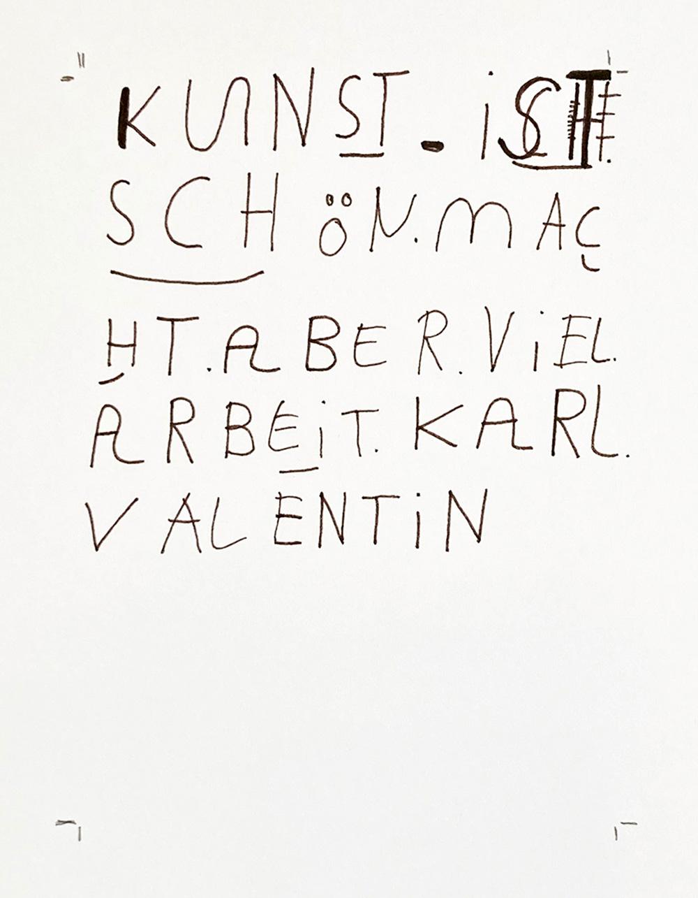 Schriftbild, Andres Landert, A4, Zitat von Karl Valentin